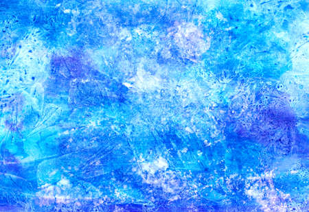 Ice cold snow blue violet frosty winter Christmas watercolor paint background texture