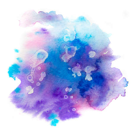 Bright colorful vibrant hand painted isolated watercolor spot splash on white background