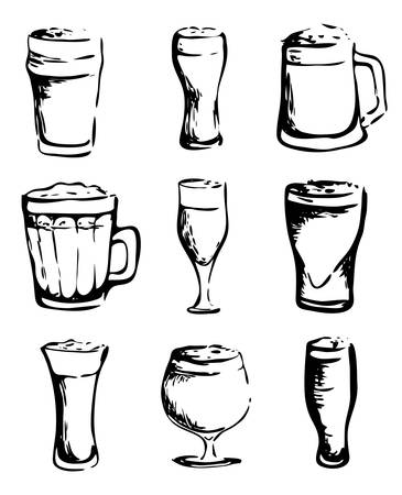 Hand drawn ink style isolated illustration   set collection: fresh beer glasses mugs different types. For Oktoberfest, Saint Patrick or craft draft beer event festival. For pub bar restaurant menu Иллюстрация