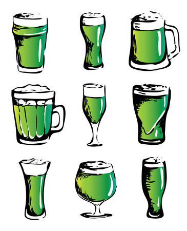 Hand drawn ink style isolated illustration   set collection: green beer glasses different types. For Saint Patrick day celebration or craft draft beer event festival. For pub bar restaurant menu Иллюстрация