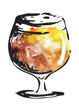 Hand drawn ink style graphics watercolor illustration: beer glass. Oktoberfest, Saint Patrick or craft draft beer event festival poster, banner ir stickers, pub bar restaurant menu. Stock Photo