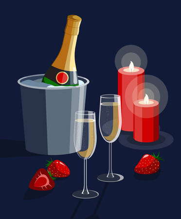 Romantic Valentines day proposal date declaration of love vector illustration featuring champagne glasses, candles and strawberries. Stock Illustratie