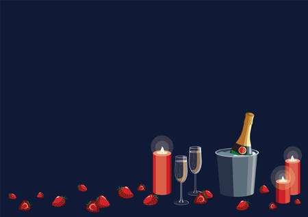Romantic New Year Valentines day proposal date vector illustration with champagne glasses, candles and strawberries. International paper size: A4, A3. Border frame with blank copy space for text.