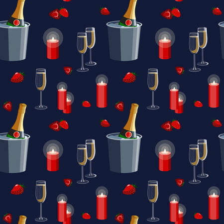Romantic Valentine's day proposal date declaration of love seamless pattern illustration with champagne glasses, candles and strawberries. Good for textile, wrapping paper, greeting cards.