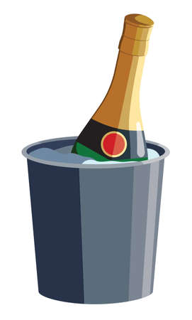 Bottle of sparkling wine Champagne cools down in the ice bucket. Isolated vector illustration on white background. Good for cards, presentation, invitations.