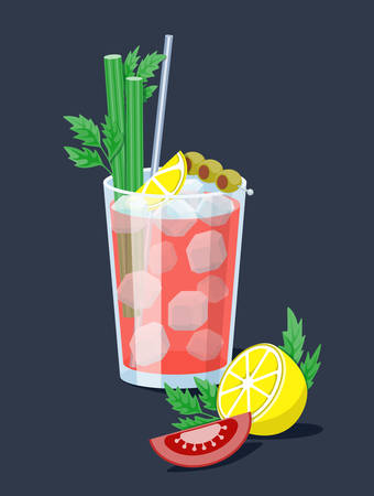 Night life illustration: Ice cold fresh salty tomato bloody Mary garnished with olives, celery and slice of tomato. Goof for cocktail party card, invitations, posters, bar menu and cook book recipe