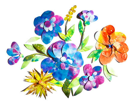 Summer happy cheerful bright flower bouquet composition hand painted watercolor paper-cut design illustration. Perfect for greeting card decoration, kids websites, books or souvenirs, stickers.