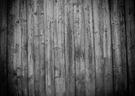 Old wooden plank board wall floor. House reparation, housework exterior and interior design wallpaper, background. Black and white colors and vignette.