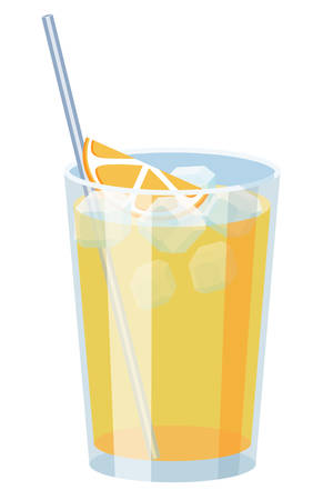 Natural yellow ice cold orange juice with straw. Classic screwdriver cocktail vector illustration. For Bar or Restaurant menu design, magazine or website recipe decoration