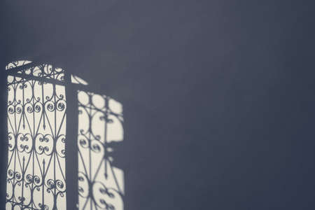 Iron forged grate fence gate contrast shadow on the wall in the morning light. Sad cold blue grey colors. A photo with free blank copy space for text Foto de archivo