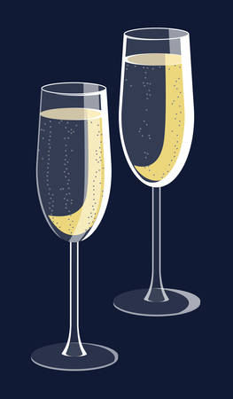 Two glasses of sparkling wine with bubbles. Isolated vector illustration on dark blue background. Good for cards, presentation, invitations or stickers