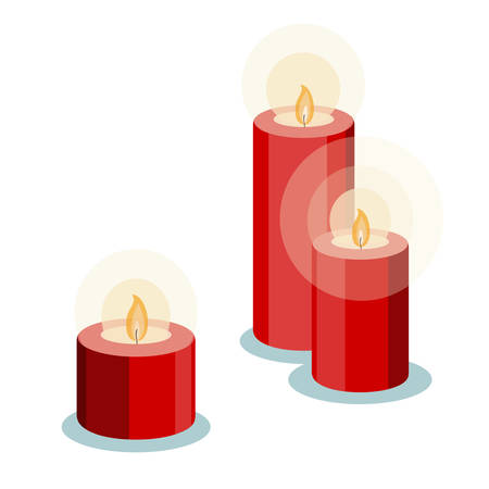 Three romantic red candles vector illustration in flat style. Good new year, Christmas or Valentines day date invitation card, sticker design.