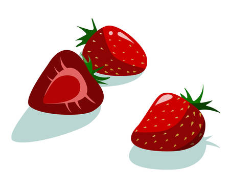 Three yummy sweet fresh red strawberries vector illustration in hipster flat style. For restaurant menu decoration, products label sticker packaging design for jam, yogurt, natural cosmetics etc