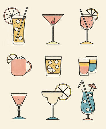 Collection set of icons various alcohol cocktail glasses high ball martini margarita old fashioned shot Moscow mule mug. Retro print halftone dotted offset press dirty gritty comic print style. Stock Photo
