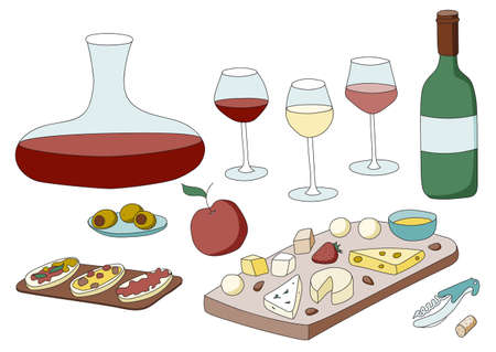 Doodle cartoon hipster style colored vector illustration. A still life or set with variety of wine glasses, decanter, bottle and appetizers like cheese or olives. For wine bar restaurant menu or ads.