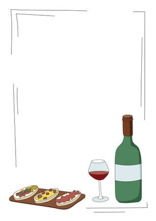 Doodle cartoon hipster style colored vector illustration. A still life or set with bottle and glass of wine, Italian bread. Bar restaurant menu. ads, poster or card. A4 frame with copy space for text.