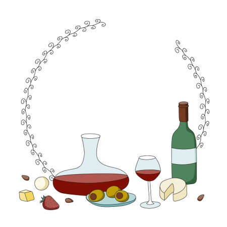 Doodle cartoon hipster style colored vector oval ring frame illustration. A still life with variety of wine glasses, decanter, bottle and appetizers. Bar restaurant menu ads, poster, card or sticker