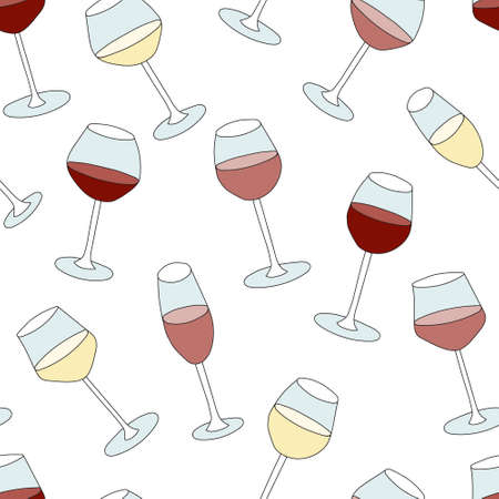 Doodle cartoon hipster style colored vector seamless pattern illustration. Variety of red pink rose white wine glasses. Bar restaurant menu ads decor, poster or card, fabric textile wallpaper design