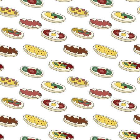 Doodle cartoon hipster style seamless pattern vector illustration. A set of bruschetta tapas canape appetizers. Bar restaurant menu ads, card, farmers market food decor, website design or fabric.