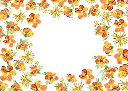 Summer happy colorful watercolor painted paper-cut flowers border frame ornament illustration. A4 A5 A3 international paper slide poster card with free blank copy space for text.