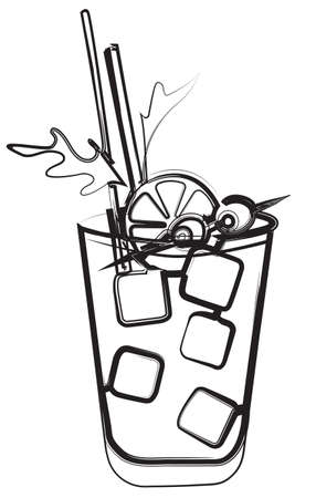 Stylish hand drawn style line art illustration Ice cold fresh tomato bloody Mary garnished with olives and celery. Goof for cocktail party card, invitations, posters, bar menu and cook book recipe.