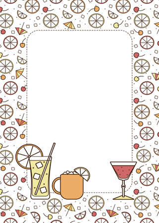 A4 Border frame copy space illustration. Cocktail glasses high ball martini margarita shot Moscow mule mug. For card, poster, invitation or restaurant menu for beach party event, wallpaper or textile