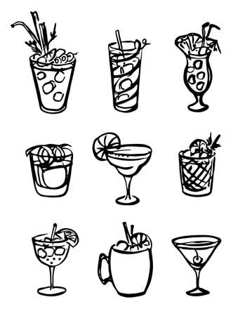 Collection set of icon hand-drawn doodle cartoon style vector illustration. Various alcohol cocktail glasses high ball martini margarita old fashioned Moscow mule. For card, poster or bar menu recipe