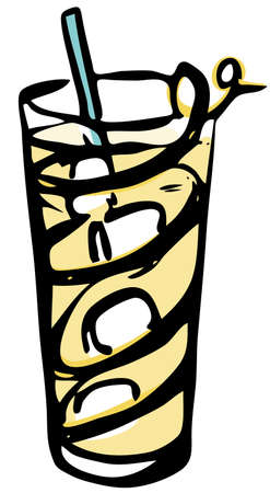 Stylish hand-drawn ink style Ice cold fresh yellow horse neck cocktail garnished with lemon zest twist in classic Collins glass. Cocktail party card, invitations, posters, bar menu cook book recipe