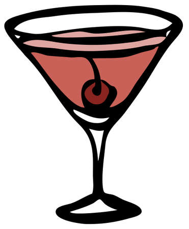 Stylish hand-drawn ink style cool red pink Cosmopolitan Manhattan garnished with maraschino cherry in classic martini glass. Cocktail party card, invitations, posters, bar menu cook book recipe