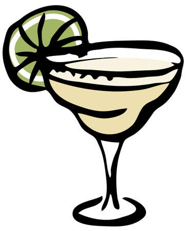 Stylish hand-drawn ink style cool fresh Margarita cocktail garnished with lime in a classic glass vector illustration. Great for cocktail party card, invitations, posters, bar menu cook book recipe Ilustrace