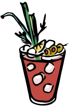 Stylish hand-drawn ink style Ice cold fresh salty tomato bloody Mary garnished with olives, celery and slice of lemon. Goof for cocktail party card, invitations, posters, bar menu or cook book recipe