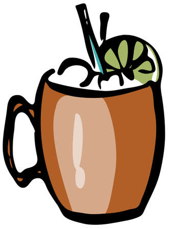 Stylish hand-drawn ink style cool fresh Moscow Mule cocktail garnished slice of lime in a classic copper brass mug vector art. For cocktail party card, invitations, posters, bar menu cook book recipe