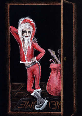 Hand Drawn Painted non typical Santa Claus in leggings, makeup, heavy leather boots in glam heavy metal hard rock style of 80s. Made with shining metallic paint. Cards, posters design. Banque d'images