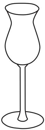 Stylish hand-drawn doodle cartoon style aperitif digestif cordial liquor cocktail glass vector illustration. For party card, invitations, posters, bar menu or alcohol cook book recipe