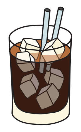 Black Russian IBA listed cocktail in rocks glass. Stylish hand-drawn doodle cartoon style vector illustration good for party card, posters, bar menu or alcohol cook book recipe