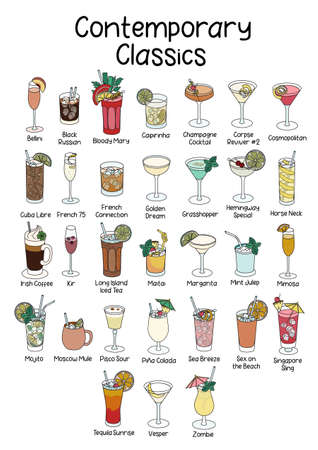 Collection set of Contemporary Classics official list cocktails Bloody Mary, Horse Neck, Cuba Libre, Tequila Sunrise, Mint Julep, Moscow Mule etc. A4 A3 international paper size picture for posters. Vektoros illusztráció