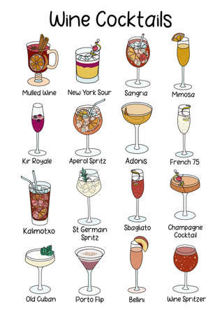 Collection set of classic famous wine based cocktail such as Kir, Mimosa, Sangria, Bellini, Calimocho, French 17, New York Sour etc. A4 A3 international paper size picture for posters, bar menu decor
