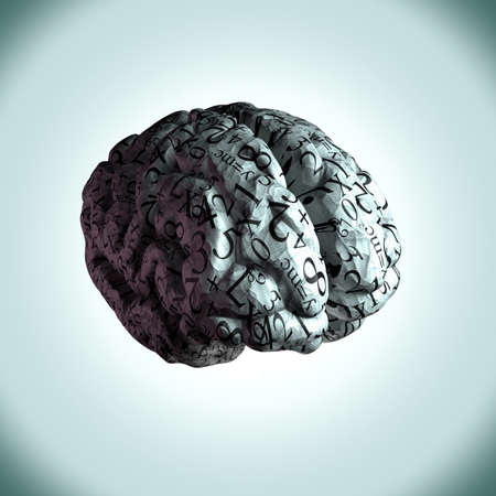 Human Brain with numbers and equations wrapped around it Stock Photo