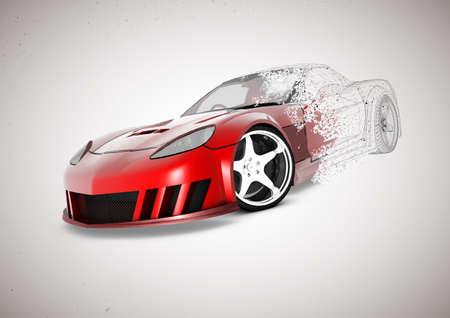 자동차의 3D 와이어 프레임 그림으로 사라져 요