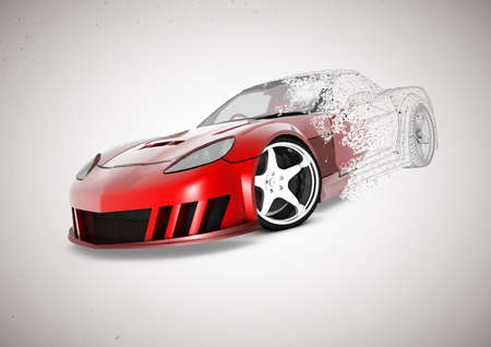 3D wire frame of car fades into illustration