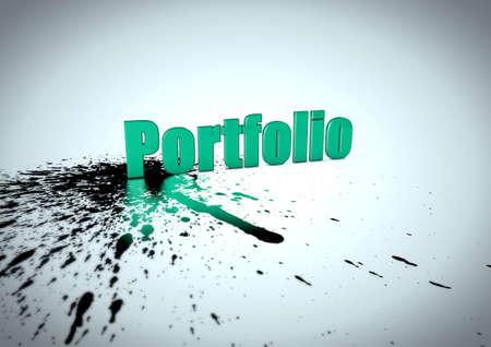 Portfolio Text with ink splatter Stok Fotoğraf