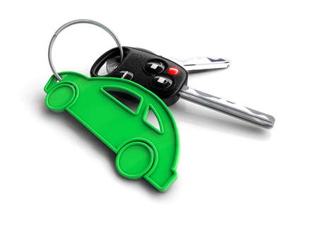 Bunch of car keys with green vehicle keyring Stockfoto