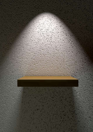Spotlight shining on floating shelf