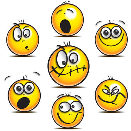 Yellow smilie faces with a variety of expressions Stock fotó