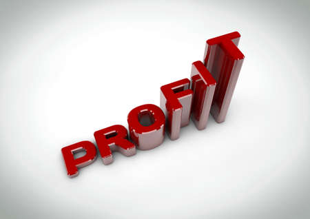 Profit title increase like financial growth graph Stock Photo