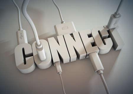 컴퓨터 케이블 및 전선이 연결 제목에 연결