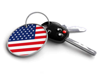 keyring: Car keys with flag as keyring - concept for cars made in United States