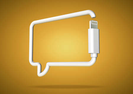 texting: Computer cable bends to make the shape of a smart phone chat texting icon.