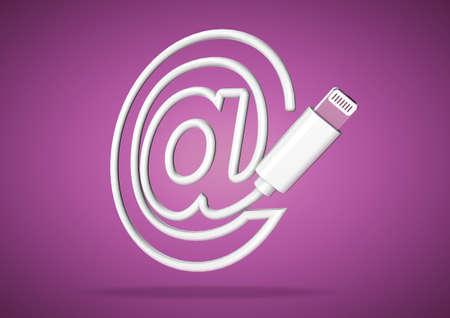 보라색 배경에 컴퓨터 케이블을 밝게 이메일 주소에 대한 기호를 형성 스톡 콘텐츠