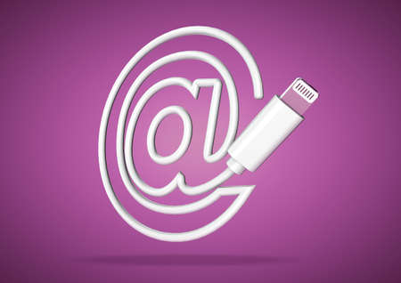 Lightening computer cable on purple background forms  symbol for email address Stock Photo